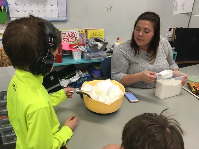 Celebrate the snow by making ice cream. Cooking integrates math, language arts, social skills and life skills into one fun activity.
